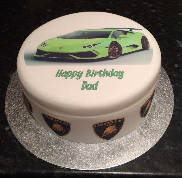 Lamborghini Racing Car 01 Edible Icing Cake Topper Green