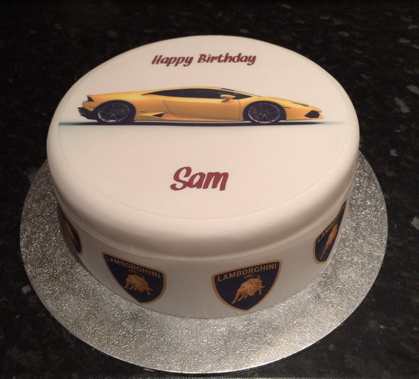 Lamborghini Huracan Yellow Racing Car Edible Icing Cake Topper