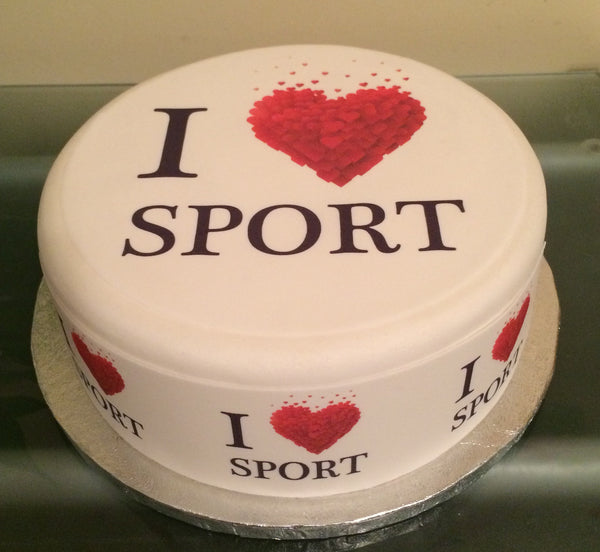 I Love Sport Edible Icing Cake Topper