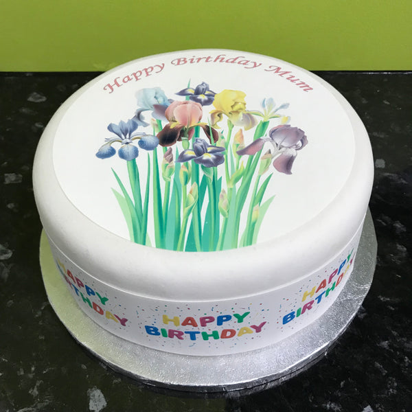 Iris Flowers Edible Icing Cake Topper