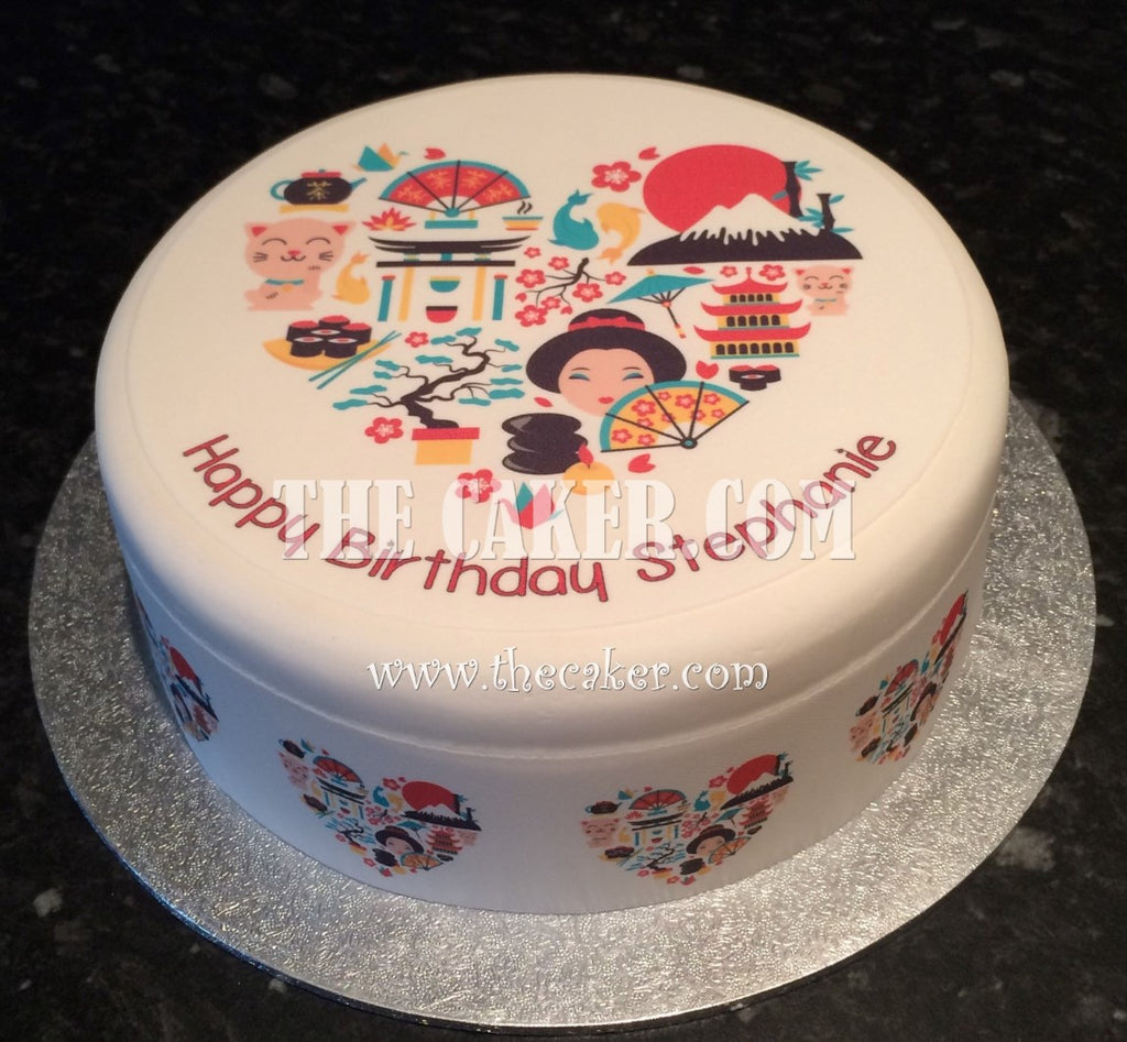 Amazing Japanese Love Japan Edible Icing Cake Topper The Caker Online Personalised Birthday Cards Rectzonderlifede