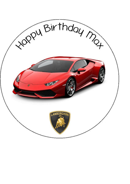 Lamborghini Red Racing Car Edible Icing Cake Topper 03