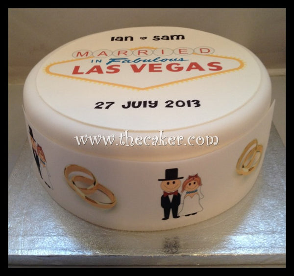 Las Vegas Sign Married in Vegas Edible Icing Cake Topper 03