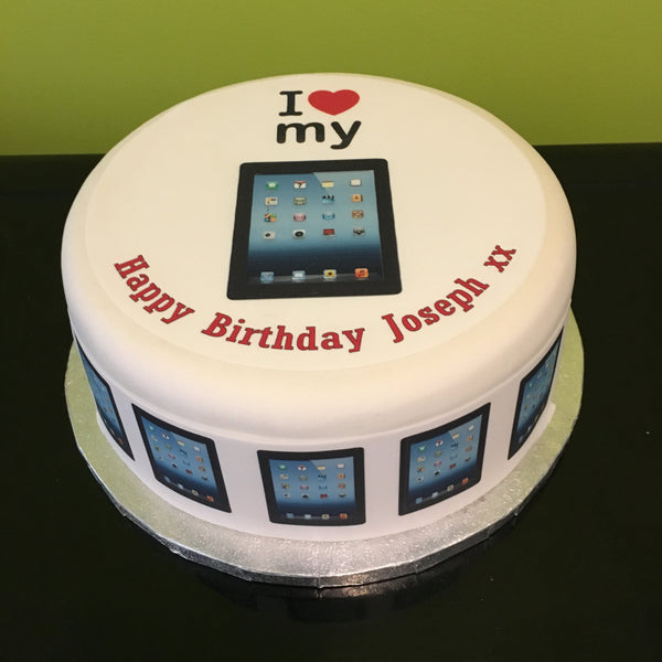 iPad Love Edible Icing Cake Topper - Black