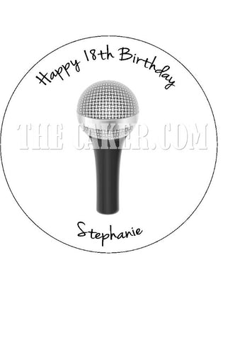 Microphone Mic Edible Icing Cake Topper 03
