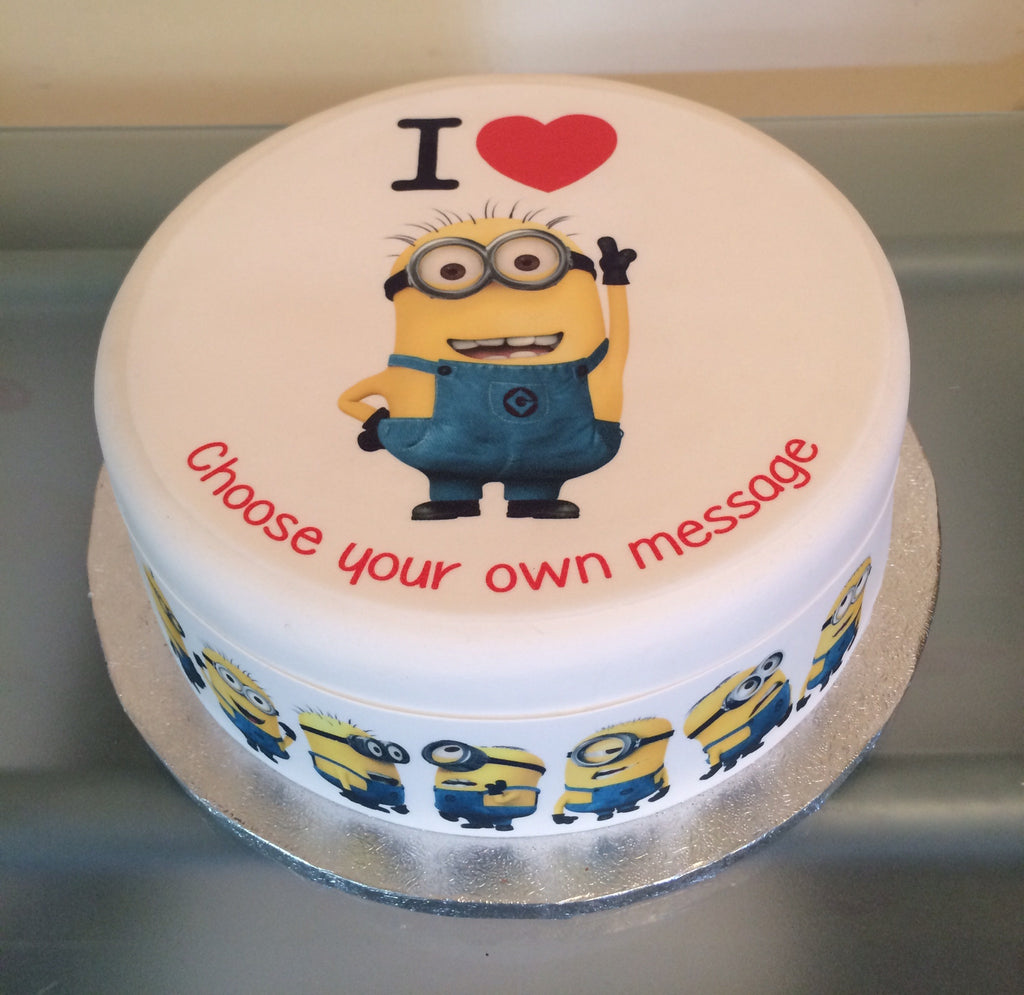 Phenomenal I Love Minions Edible Icing Cake Topper The Caker Online Personalised Birthday Cards Cominlily Jamesorg