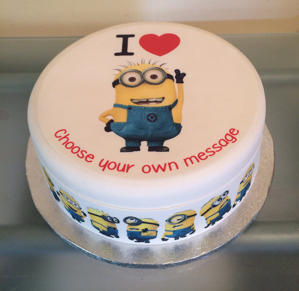 I Love Minions Edible Icing Cake Topper