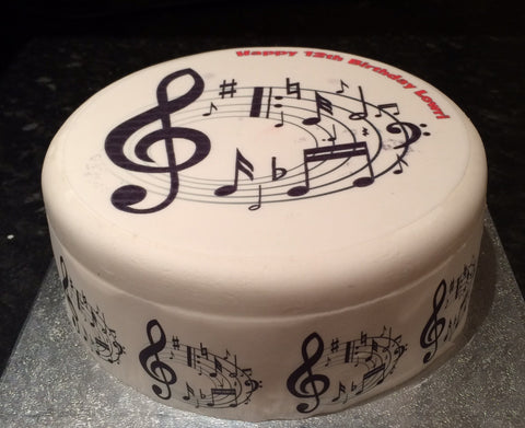 Music Notes Black & White Edible Icing Cake Topper 02