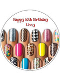 Nails Nail Salon Edible Icing Cake Topper 03