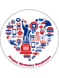 New York Love USA Edible Icing Cake Topper