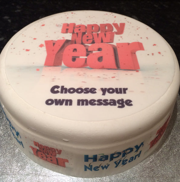 Happy New Year Edible Icing Cake Topper 03