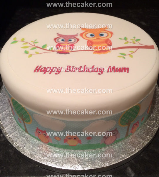 Owl Owls  Edible Icing Cake Topper 01
