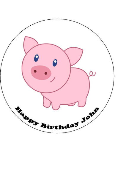 Pig Edible Icing Cake Topper 02