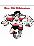 Rugby Player Red Edible Icing Cake Topper