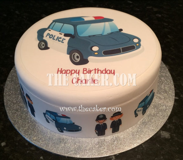 Police Car Edible Icing Cake Topper 01