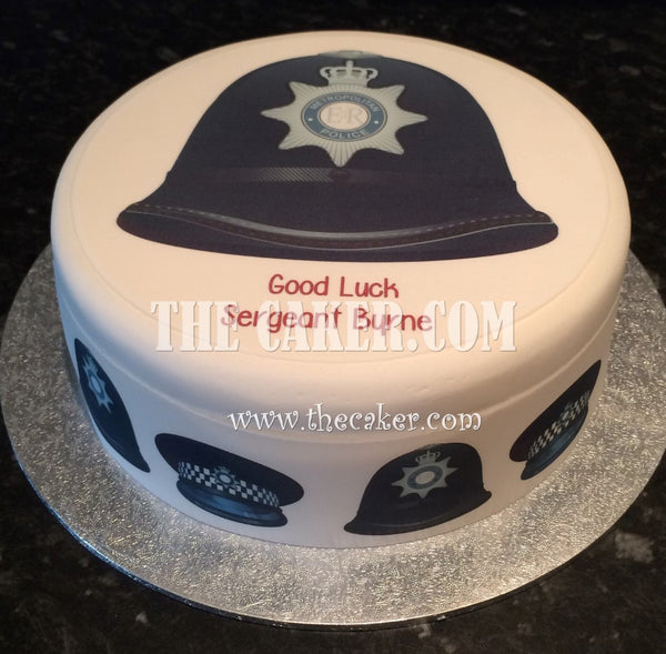 Police Helmet Edible Icing Cake Topper 01
