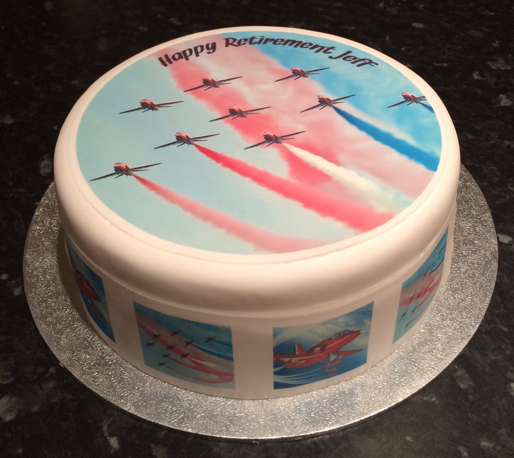 Red Arrows Planes Edible Icing Cake Topper 01 The Caker Online