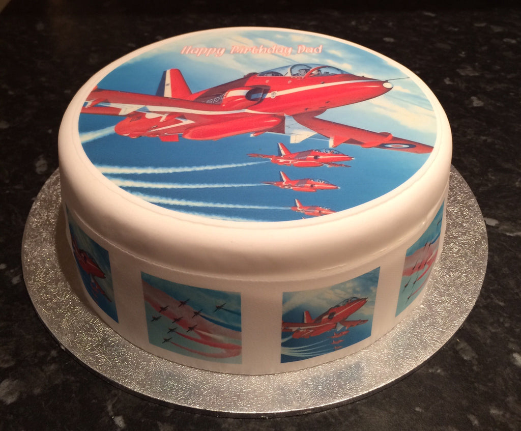 Red Arrows Planes Edible Icing Cake Topper 02 The Caker Online