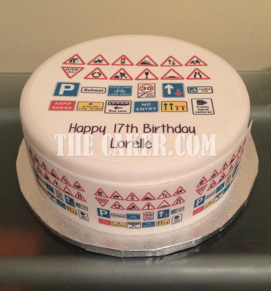 Highway Code Road Signs Edible Icing Cake Topper