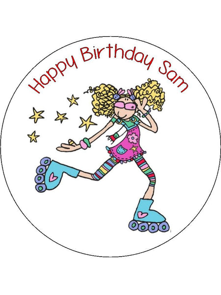 Roller Skating 02 Edible Icing Cake Topper Girl