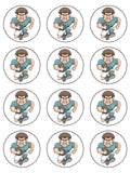 Rugby Player Blue Edible Icing Cake Topper