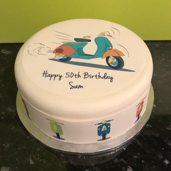 Scooter Vespa Moped Edible Icing Cake Topper 01