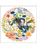 Scuba Diving Edible Icing Cake Topper 01