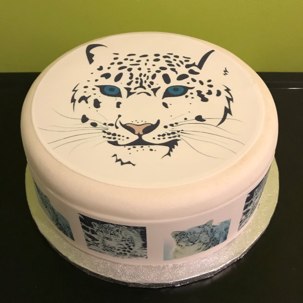 Cool Snow Leopard Edible Icing Cake Topper 02 The Caker Online Funny Birthday Cards Online Aeocydamsfinfo
