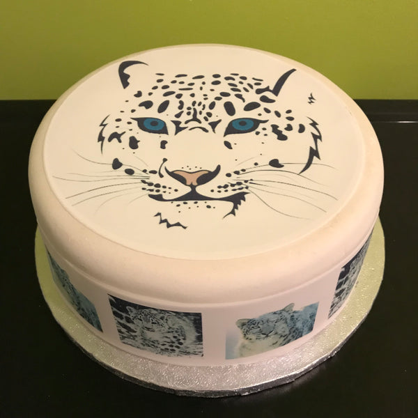 Snow Leopard Edible Icing Cake Topper 02