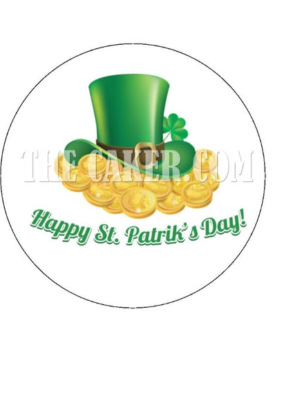 St Patriks Day Edible Icing Cake Topper