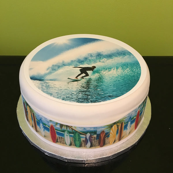 Surfing Surf Board Edible Icing Cake Topper 01