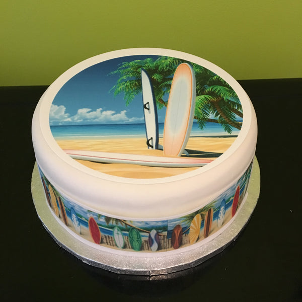 Surfing Surf Board Edible Icing Cake Topper 02