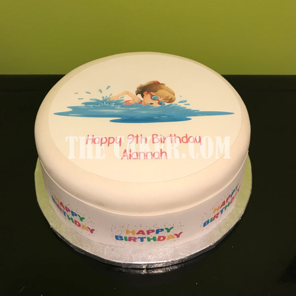 Swim Swimming Edible Icing Cake Topper 06