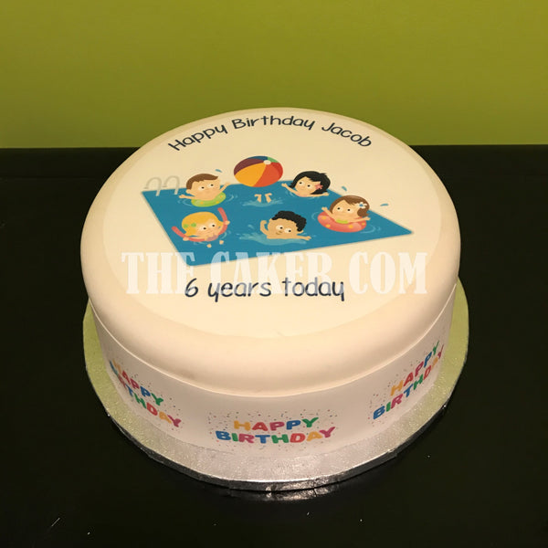 Swimming Pool Party Edible Icing Cake Topper