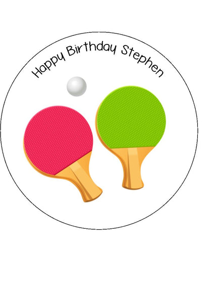 Table Tennis Ping Pong Edible Icing Cake Topper