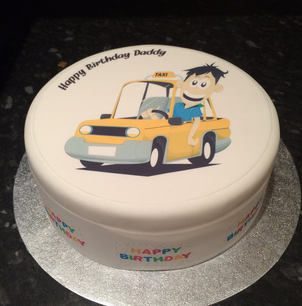 Taxi Cab Driver Edible Icing Cake Topper