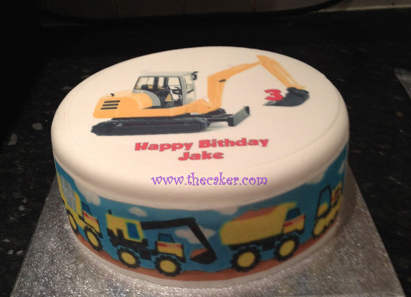 Yellow Tractor Edible Icing Cake Topper 02