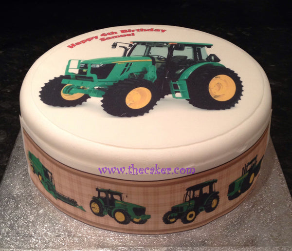 Tractor Green Edible Icing Cake Topper 03