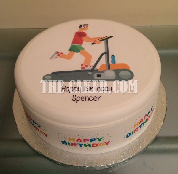 Running Treadmill Edible Icing Cake Topper
