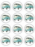 VW Camper Van Blue Edible Icing Cake Topper
