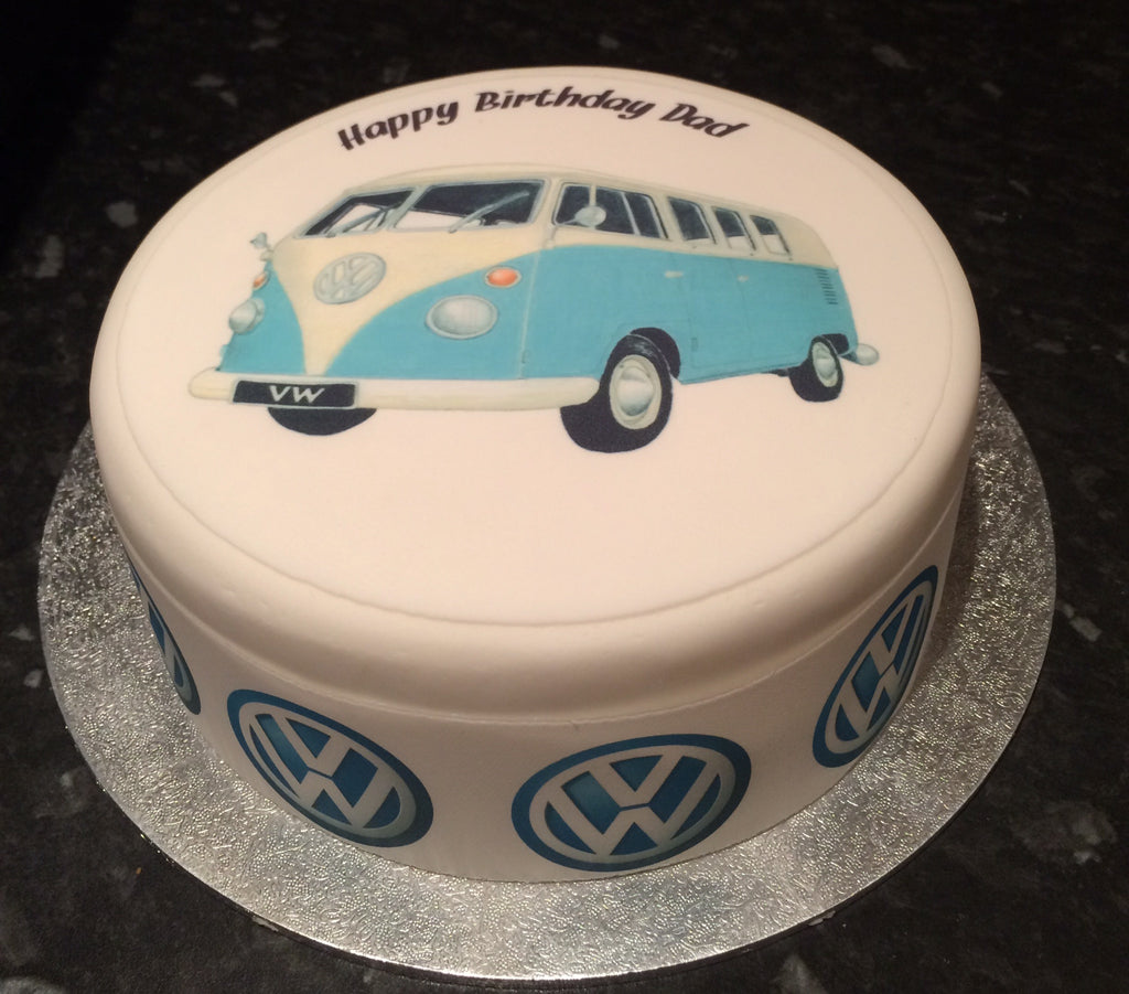 Vw Camper Van Blue Edible Icing Cake Topper The Caker Online