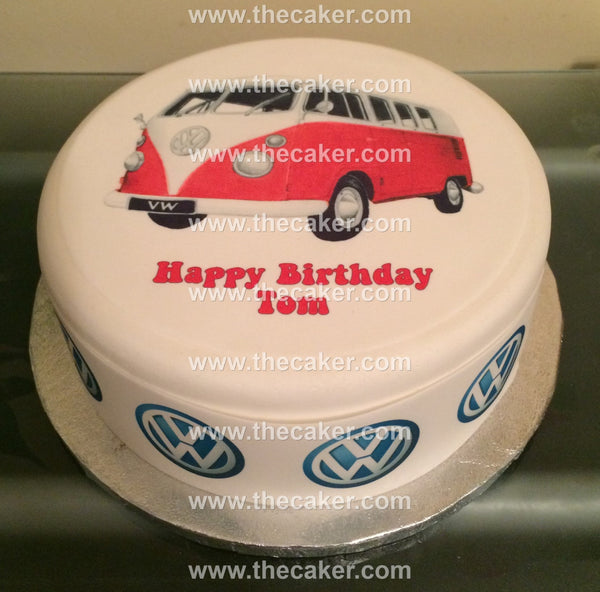 VW Camper Van Red Edible Icing Cake Topper