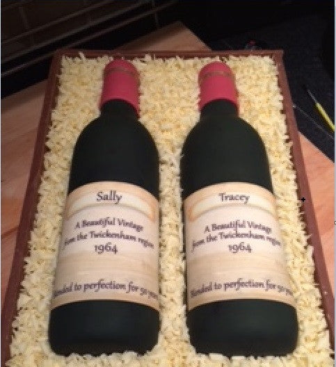 Red Wine Label Edible Icing Topper Fully personalised