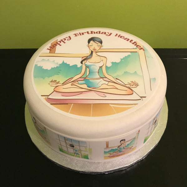 Yoga Pilates Edible Icing Cake Topper 02
