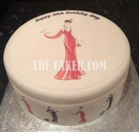 Art Deco Lady Edible Icing Cake Topper 04