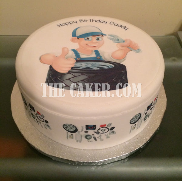 Car Mechanic Tyres Edible Icing Cake Topper
