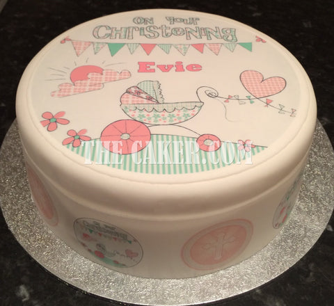 Christening Girl Edible Icing Cake Topper 01