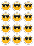 Emoji 04 Edible Icing Cake Topper Shades Sunglasses