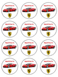 Ferrari Racing Car Edible Icing Cake Topper 02