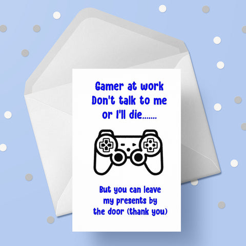 Gamer at work Birthday Card